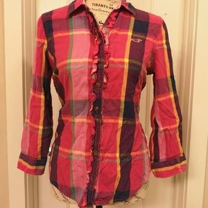 Hollister Pink Plaid Long Sleeve Button Down M